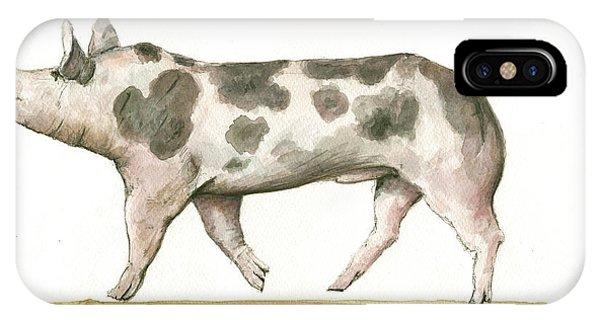 Pig iPhone Case - Pietrain Pig by Juan Bosco