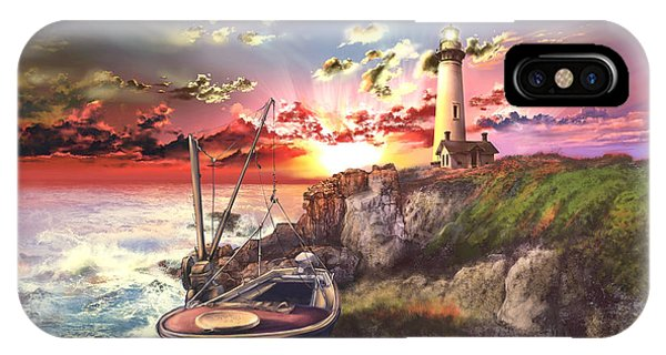 Pigeon iPhone Case - Pigeon Point Lighthouse by Bekim Art