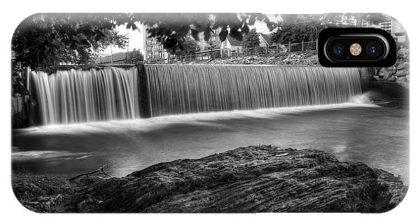 Pigeon River At Old Mill In Black And White IPhone Case
