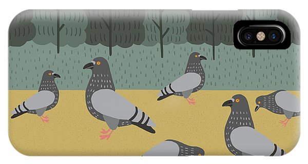 Pigeon iPhone Case - Pigeons Day Out by Nicole Wilson