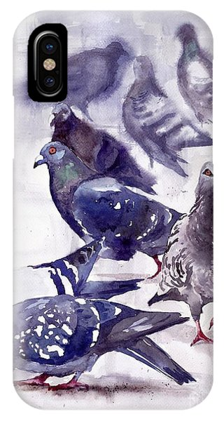 Pigeon iPhone Case - Pigeons Watercolor by Suzann's Art