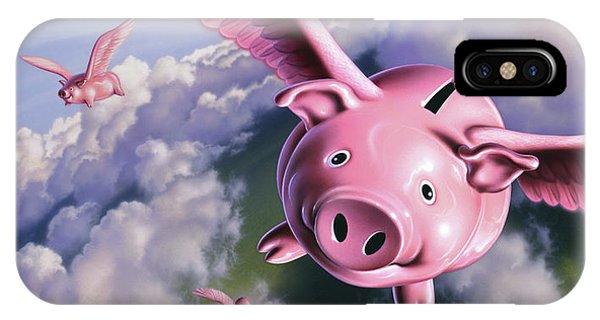 Pig iPhone Case - Pigs Away by Jerry LoFaro