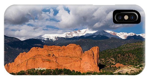 Pikes Peak And Garden Of The Gods Panoramic IPhone Case