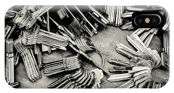 Piles Of Blank Keys In Monochrome IPhone Case