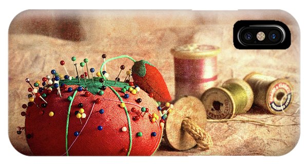 Needles iPhone Case - Pin Cushion And Wooden Thread Spools by Tom Mc Nemar