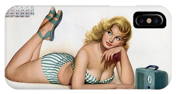 Blond iPhone Case - Pin Up Listening To Radio by American School