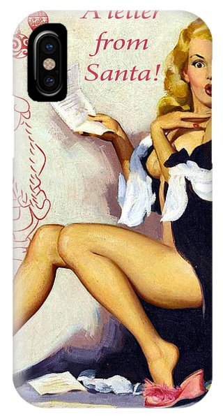 Blond iPhone Case - Pin Up Sexy Blond Woman Receives A Letter From Santa by Long Shot