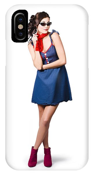 Pin Up Styling Fashion Girl In Retro Denim Dress IPhone Case
