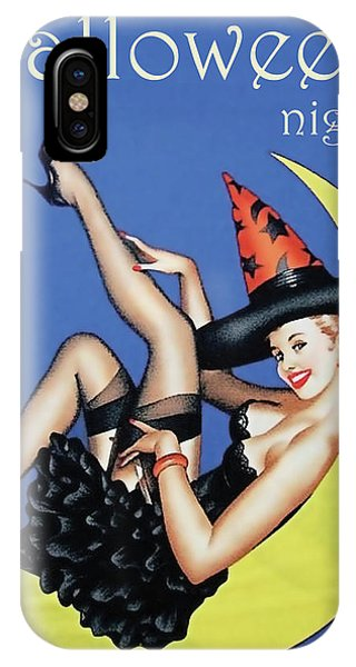Moon iPhone Case - Pin Up Witch On Moon by Long Shot