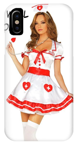 Vintage Nurse Iphone Case Pin Up Woman Posing In Nurse Uniform By Long Shot