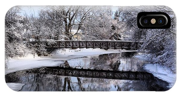 Pine River Foot Bridge From Superior In Winter IPhone Case