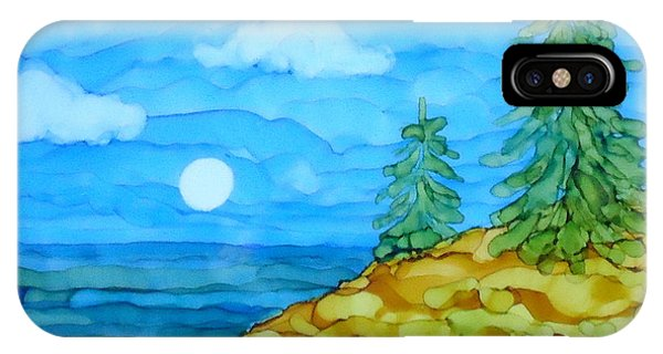 Pine Tree Moon And Water Painting IPhone Case