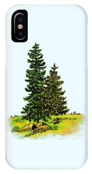 Pine Tree Nature Watercolor Ink Image 2b        IPhone Case