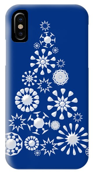 Christmas Tree iPhone Case - Pine Tree Snowflakes - Dark Blue by Anastasiya Malakhova