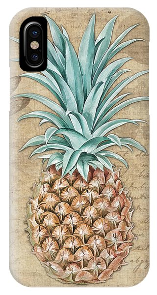 Pineapple, Ananas Comosus Vintage Botanicals Collection IPhone Case