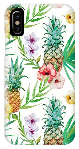 Pineapple And Tropical Flowers IPhone Case