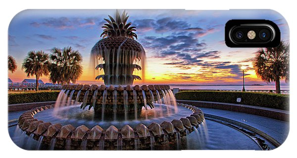 The Pineapple Fountain At Sunrise In Charleston, South Carolina, Usa IPhone Case