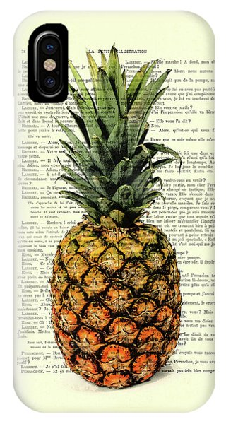 Summer Fruit iPhone Case - Pineapple In Color Illustration by Madame Memento