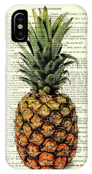 Brazil iPhone X Case - Pineapple In Color Illustration by Madame Memento
