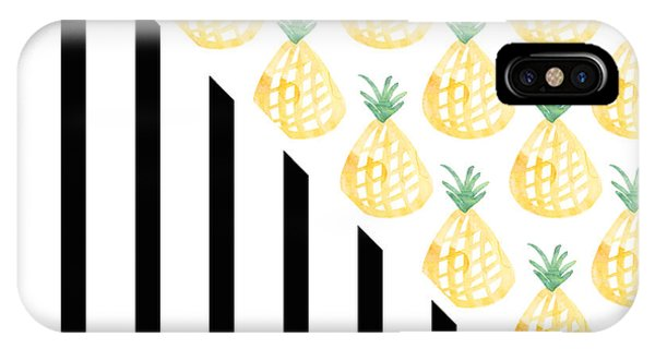 Watercolor iPhone Case - Pineapples And Stripes by Linda Woods