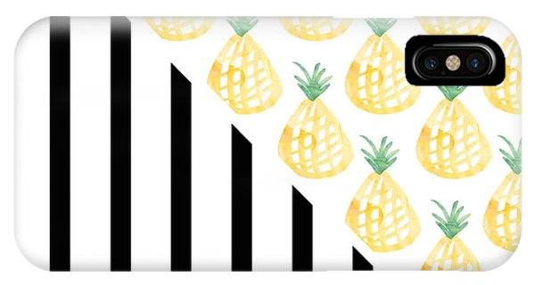 Print iPhone Case - Pineapples And Stripes by Linda Woods