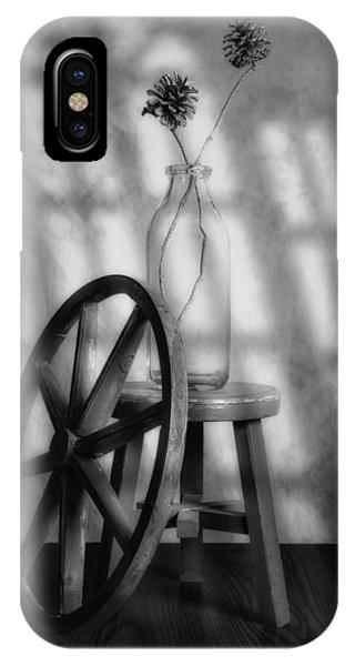 Wagon Wheel iPhone Case - Pinecones In The Window by Tom Mc Nemar
