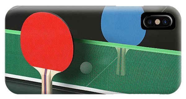 Ping Pong Paddles On Table, Standing Upright IPhone Case