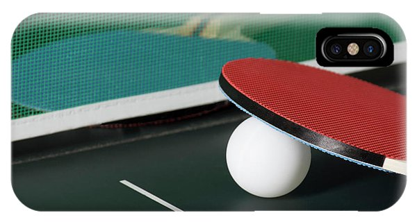Ping Pong Paddles On Table With Net IPhone Case