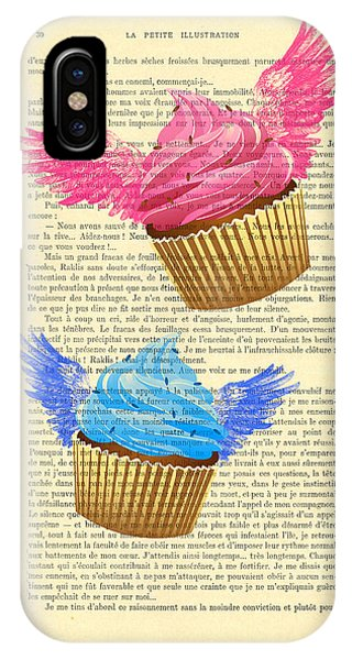 Funky iPhone Case - Pink And Blue Cupcakes Vintage Dictionary Art by Madame Memento