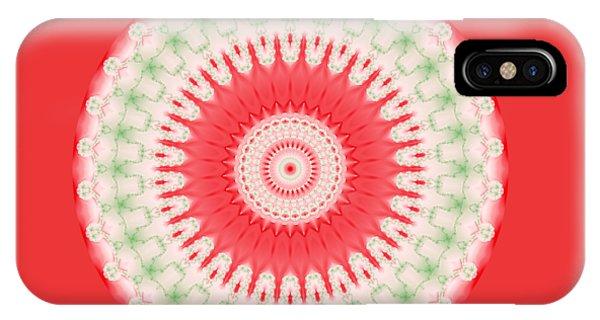 Pink And Green Mandala Fractal 001 IPhone Case