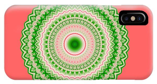 Pink And Green Mandala Fractal 002 IPhone Case
