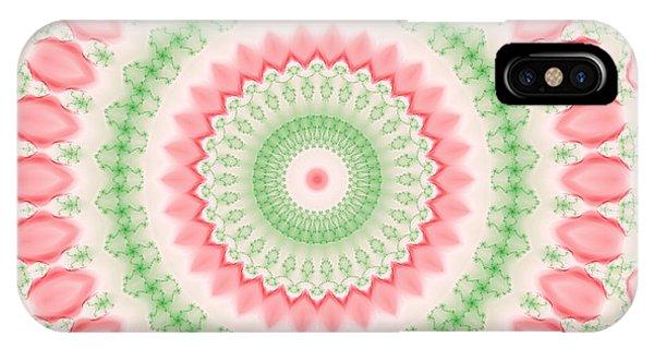 Pink And Green Mandala Fractal 003 IPhone Case