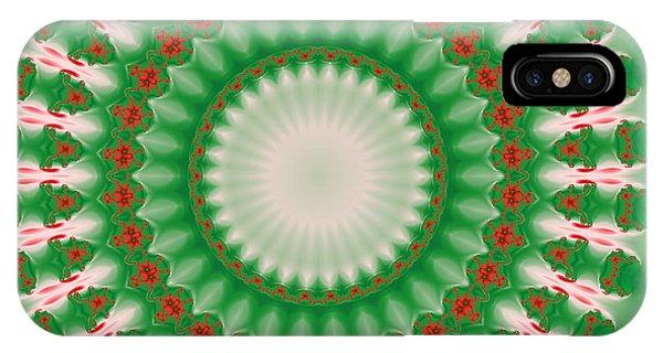 Pink And Green Mandala Fractal 005 IPhone Case