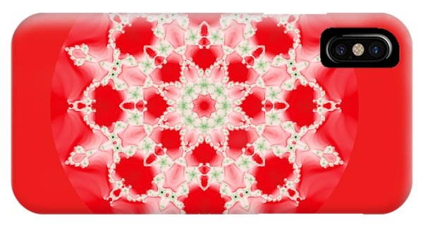Pink And Green Watercolor Snowflake Fractal IPhone Case