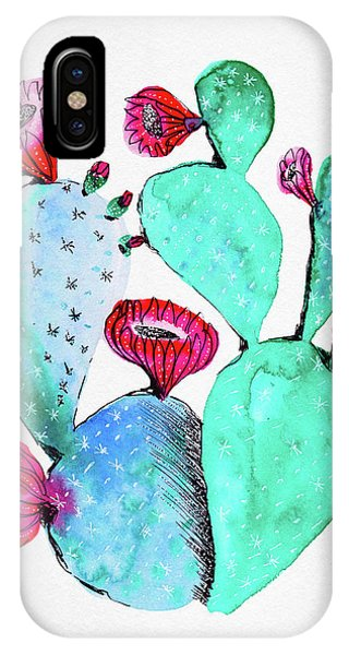 Pink And Teal Cactus IPhone Case