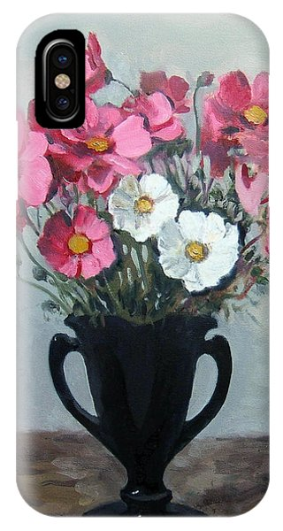 Pink And White Cosmos In Black Glass Vase IPhone Case