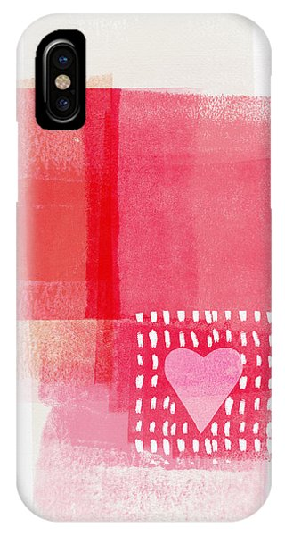 Pink iPhone Case - Pink And White Minimal Heart- Art By Linda Woods by Linda Woods