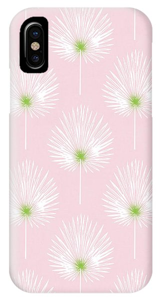 Leaf iPhone Case - Pink And White Palm Leaves- Art By Linda Woods by Linda Woods