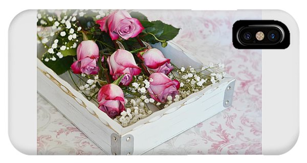 Pink And White Roses In White Box IPhone Case