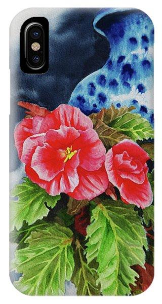 Pink Begonias Phone Case by Lori Seward