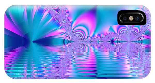 Pink, Blue And Turquoise Fractal Lake IPhone Case