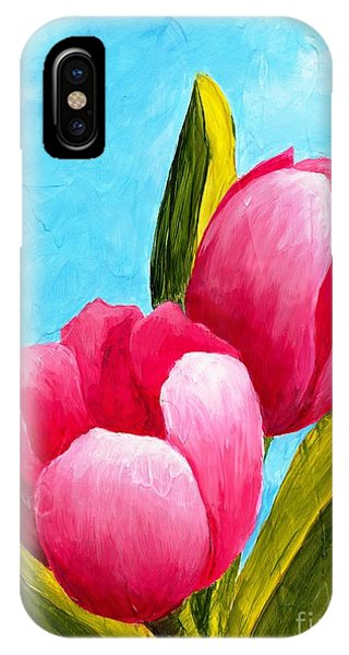 IPhone Case featuring the painting Pink Bubblegum Tulips I by Phyllis Howard
