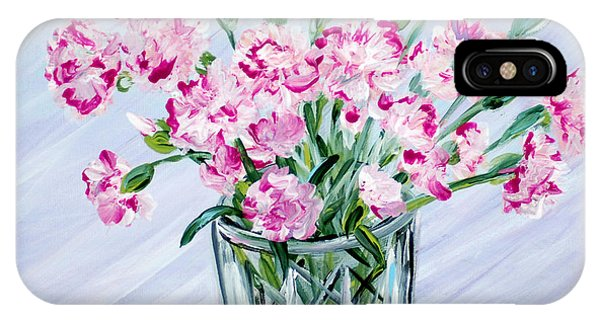 Pink Carnations In A Vase. For Sale IPhone Case