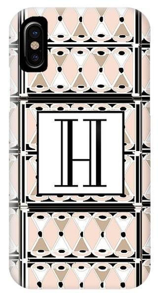 Pink Champagne Deco Monogram  H IPhone Case
