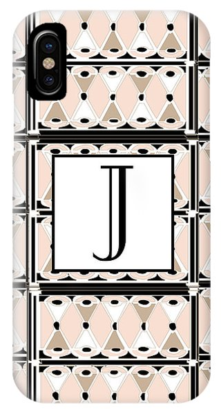 Pink Champagne Deco Monogram  J IPhone Case