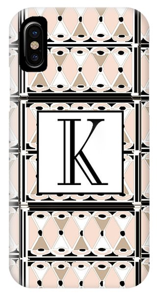Pink Champagne Deco Monogram  K IPhone Case