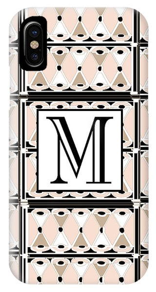 Pink Champagne Deco Monogram  M IPhone Case