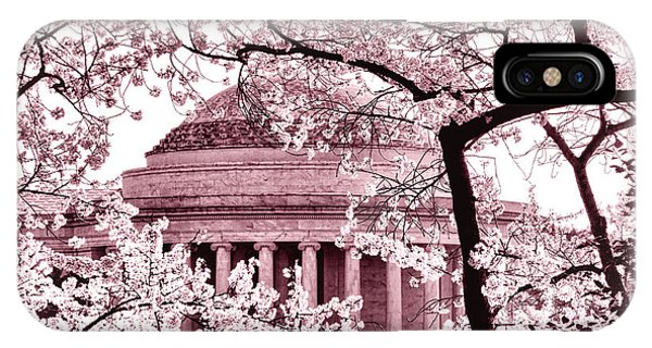 Pink Cherry Trees At The Jefferson Memorial IPhone Case