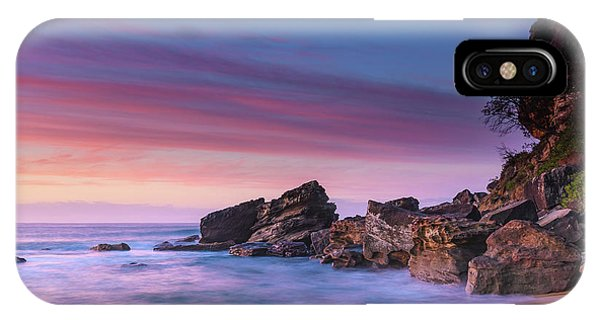 Pink Clouds And Rocky Headland Seascape IPhone Case