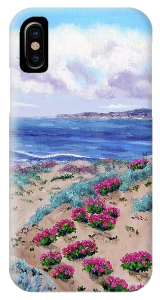Half Moon Bay iPhone Case - Pink Daisies In Sand Dunes by Laura Iverson